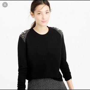 J Crew sweater with jeweled shoulder detail